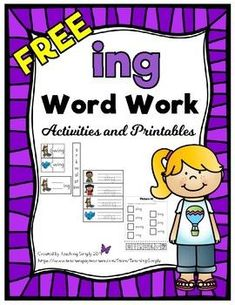 FREE -ing Word Work Printables and Activities - Tacky the Teacher - art therapy activities First Grade Activities, Word Work Activities, Art Therapy Activities, Kindergarten Reading, Teaching Reading, Fun Learning, Abc Phonics, Phonics Words, Jolly Phonics