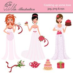 This cute Cooking up some love set comes with 7 cliparts including 3 beautiful brides, bridal bouquet, tea pot, wedding cake and a gift box.     All graphics are made in High Quality 300 dpi and come in JPG, PNG & EPS format.    This clipart is perfect for your bridal showers, wedding invitations, scrabooking, card design, paper crafts, Web Design and Many More!