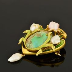ART NOUVEAU BIPPART GRISCOM AND OSBORN TURQUOISE AND PEARL ENAMEL BROOCH