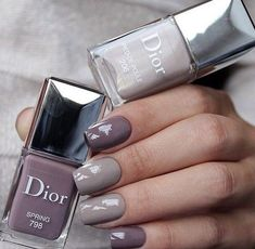 Dior Nail Polish, Dior Nails, How To Do Nails, Fun Nails, Pretty Nails, Gorgeous Nails, Grey Nail Designs, Gray Nails, Purple Nails