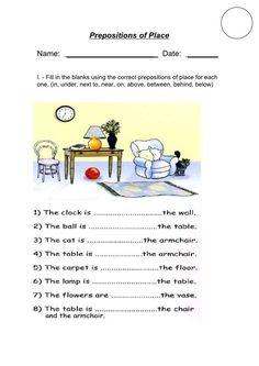 Schede di inglese per la scuola primaria - Le preposizioni in inglese