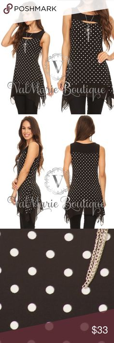 """Black Polka Dot Sleeveless Tunic 🇺🇸MADE IN USA- Polka dot, sleeveless long body top in a relaxed fit, with a round neck, chest cutout, asymmetric hem, and solid color-blocks. Fits TTS S(2-4) M(6-8) L(10-12) XL (14-16) - top is very stretchy and soft!  Bust laying flat: S 16"""", M 17"""", L 18"""", XL 19"""" - stretches bigger  Length: S 29"""", M 29.5"""", L 30.5"""", XL 31.5""""  96% Polyester, 4% Spandex ValMarie Boutique Tops"""