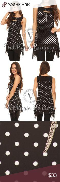 Spotted while shopping on Poshmark: Black Polka Dot Sleeveless Tunic! #poshmark #fashion #shopping #style #ValMarie Boutique #Tops