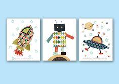 Nursery decor, nursery art, boys room art, kids room wall art, outer space prints, Set of 3 prints  - explore outerspace sur Etsy, $35.70 CAD
