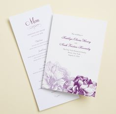 A wedding reception stationery design featuring soft florals and custom fonts.