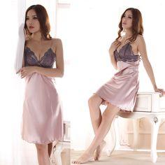 Леди сексуальность пижамы ночное платье женщин район шелковый шнурок халаты ночные сорочки для леди