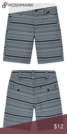 Hurley One & Only Walkshort Striped Shorts These boys' Hurley One and Only Walkshort shorts sit just below his natural waistline for a straight fit from the hip through the thigh. In gray.  PRODUCT FEATURES Sits below waistline Snap button & fly closure Functional pockets Striped pattern  FABRIC & CARE Cotton, polyester Machine wash Imported Hurley Bottoms Shorts