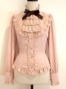 DIY idea, jabot steamloli victorian lace bow long sleeve blouse.
