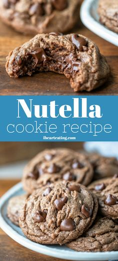 Nutella Cookie Recipe - easy soft and chewy Nutella cookies can be made from scratch in under 20 minutes. Nutella Cookie Recipe - easy soft and chewy Nutella cookies can be made from scratch in under 20 minutes. Toffee Cookies, Yummy Cookies, Chocolate Cookies, Chocolate Chocolate, Baking Cookies, Pancakes Nutella, Biscuit Nutella, Nutella Cookie Recipe, Nutella Cookies Easy