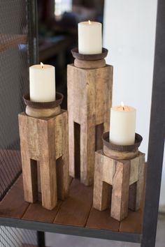 Set Of Three Square Recycled Wood Candle Holders
