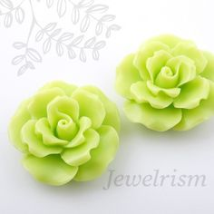 Lime Green Ruffle Rose Cabochons