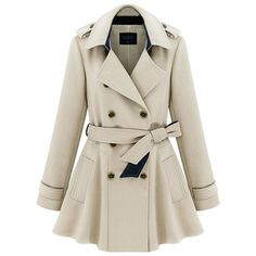 ZLYC Women Lady Fashion Fit Flare Beltted Double Breasted Classic... ($59) ❤ liked on Polyvore featuring outerwear, coats, jackets, trench coat, winter, double breasted coat, brown double breasted coat, brown coat, brown trench coat and double-breasted trench coats