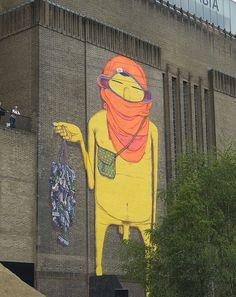Os Gêmeos - Giant graffiti at the Tate Modern