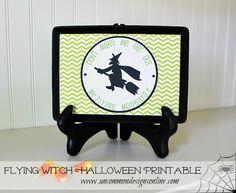 Flying Witch Free Halloween Printable ~ www.uncommondesignsonline.com
