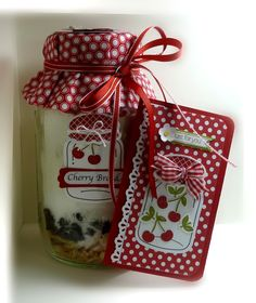 Stampin' Up! Fabric Mason Jar Gift  by Me, My Stamps and I: Perfectly Preserved