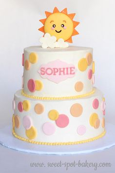"""You are my sunshine"" birthday cake Sunshine Birthday Cakes, Sunshine Cake, Cool Birthday Cakes, First Birthday Parties, First Birthdays, Birthday Ideas, Sun Cake, Birthday Morning, Sunflower Cakes"