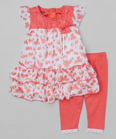 Look what I found on #zulily! Orange Floral Lace Tunic & Leggings - Toddler & Girls by Nannette Girl #zulilyfinds