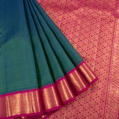 Buy online Handloom Hamsadhvani Greenish Blue Pure Zari Kanjivaram Silk Saree With Paisley & Floral Pallu 10014216