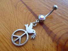 Belly Button Ring - Peace Sign Belly Button Ring $10.00