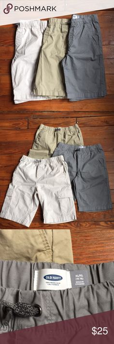 3 Pair Bundle Old Navy Boys 14-16 Shorts I'm pretty sure my cousin bought these for her son, washed them, though he never wore them because they look like new. The light beige pair are cargoes. Drawstring. Old Navy Bottoms Shorts