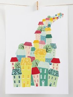 City Living- Stitched cityscape canvas print by Laura Amiss Font Design, Graphic Design, Roofing Felt, Canvas Art, Canvas Prints, House Quilts, City Illustration, Poster S, City Living