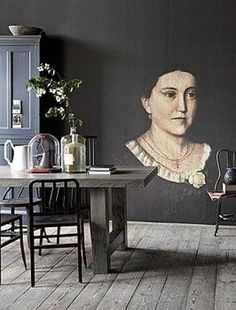 Beautiful old portrets CENTURY 19 as an impressive mural by Wall & Deco. Deco Boheme Chic, Interior Inspiration, Design Inspiration, Room Inspiration, Portrait Wall, Oil Portrait, Dark Walls, Wall Treatments, My New Room