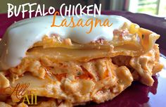 Buffalo Chicken Lasagna Recipe Main Dishes with olive oil, butter, onion, garlic, cream cheese, buffalo sauce, hot pepper sauce, cooked chicken, ranch dressing, shredded mozzarella cheese, lasagna noodles