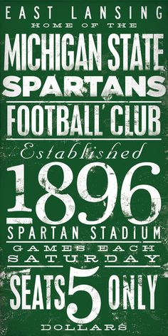 Michigan State Spartans football typography by geministudio