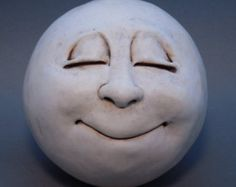 Man-in-the-Moon Garden Head Antique White van thefunnything op Etsy