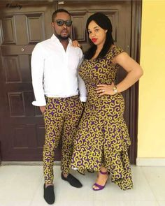 Beautiful matching african print ankara designs and styles for couples, husband and wife ankara styles to rock to every event of your choice Couples African Outfits, African Dresses For Women, Couple Outfits, African Attire, African Wear, African Fashion Dresses, African Style, Ghanaian Fashion, African Clothes