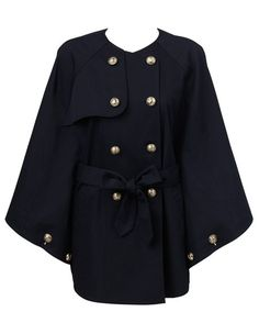 Hi There From Karen Walker Navy Belted Cotton Drill Cape $199
