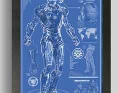 Etsy の Iron Man War Machine Suit Blueprints 16x24 By Ryanhuddle Marvel Comics Heroes