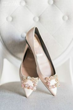 Sparkly Bridal Flats, Pink Wedding Flats, Bridal Flats, Flat Wedding Shoes, Roger Vivier | ElegantWedding.ca #weddingflats #bridalflats #flats #shoes #weddingshoes