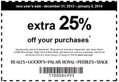 Pinned January 5th: 25% off today at Bealls, #Goodys, Palais Royal, Peebles & stage stores #coupon via The Coupons App