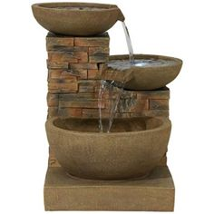 Pebble Glen Tipping Bowls LED Fountain