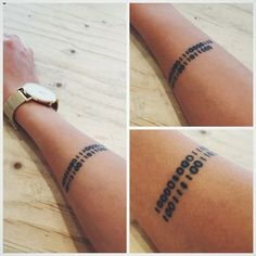 My binary code tattoo, the date of a family members' birth and death: