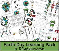 Free Earth Day Learning Pack - Over 55 pages for ages 2 to 8 with a 33 page Tot Pack - 3Dinosaurs.com