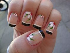 unhas francesinha - Pesquisa Google Pretty Nail Designs, Nail Art Designs, Sunflower Nails, French Nail Art, Fancy Nails, Gorgeous Nails, Manicure And Pedicure, Christmas Nails, Toe Nails