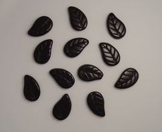 Czech Glass Vintage Leaves Front Drilled Jet Black Etched Beads 14x9mm Trees Fruit Flowers Earrings Jewelry Charm 12