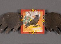 crow art with wings assemblage  Vicki Fish - Artwork