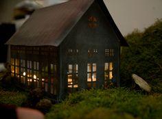 little zinc houses | Zinc House Candle Holder