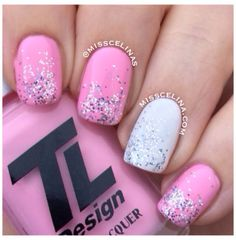 From March 2014 (NAIL ART BLOG MissCelinas). Used: TL Design (produced and sold by Tone Lise Academy, Norway) Pink Cadillac with Silver Glitter from Panduro Hobby Shop. White isn't identified.
