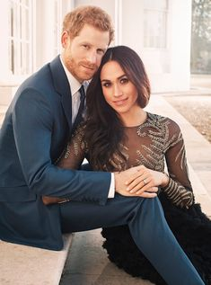 Prince Harry wore a classic navy suit, while Meghan Markle, went for an absolutely stunning gown that has a partially sheer top and a full tulle skirt. The gown, which reportedly costs $75,000 (£56,000 GBP), was part of haute couture house Ralph & Russo's 2016 fall/winter collection, pose for one of two official engagement photos, taken earlier this week at Frogmore House in Berkshire.