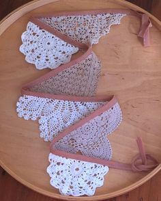 vintage crochet bunting - cute idea for vintage-inspired baby girl room