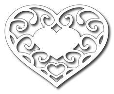 Frantic Stamper Precision Cutting Die - Filagree Heart-This heart has a nice solid spot in the center to add a sentiment. Printable Heart Template, Leaf Template, Flower Template, Crown Template, Butterfly Template, Free Printable, Printable Stencils, Free Stencils, Kirigami
