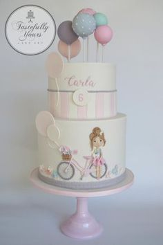 Bicycle Girl by Marianne: Tastefully Yours Cake Art - Kuchen - kuchen kindergeburtstag Pretty Cakes, Cute Cakes, Beautiful Cakes, Fondant Cakes, Cupcake Cakes, Little Girl Cakes, Balloon Cake, Bicycle Girl, Bicycle Cake