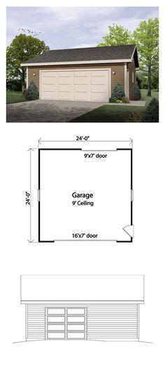 Two-Car Garage Plan 49178   Total Garage Area: 576 sq. ft., 24'x24' #garageplan