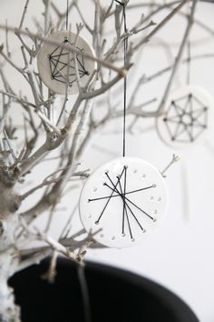 (OnsHus) | Embroidered Ornaments DIY:  http://monsterscircus.wordpress.com/2012/12/03/diy-julekalender-cernit-broderi/