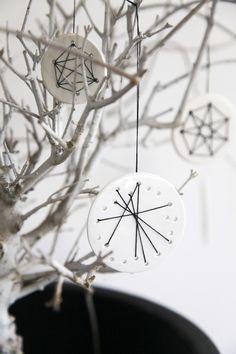 (OnsHus) | Embroidered Ornaments DIY: http://monsterscircus.wordpress.com/2012/12/03/diy-julekalender-cernit-broderi/