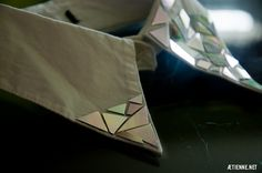 Using old CDs to create holographic collar - awesome! (also, who knew you can cut CDs using boiling water & scissors!)
